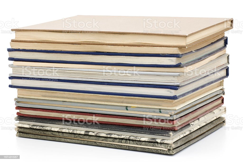 stack of old year books stock photo