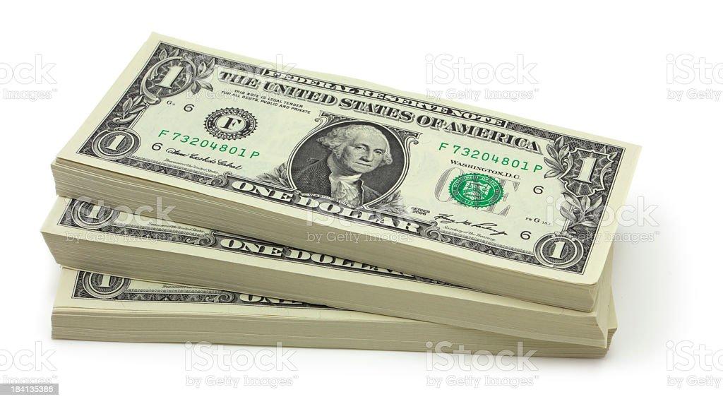 Stack of one dollar bills stock photo
