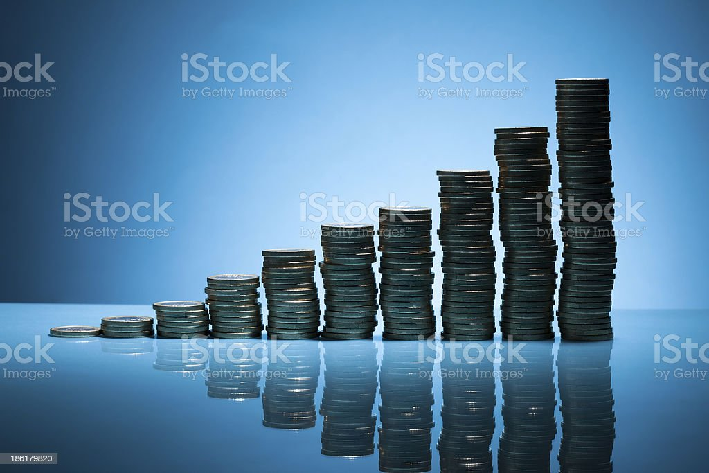 Stack Of One Euro Coins stock photo