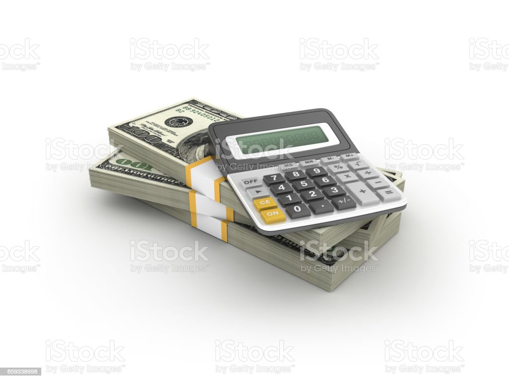 Stack of One Hundred Dollar Bills with Calculator - 3D Rendering stock photo