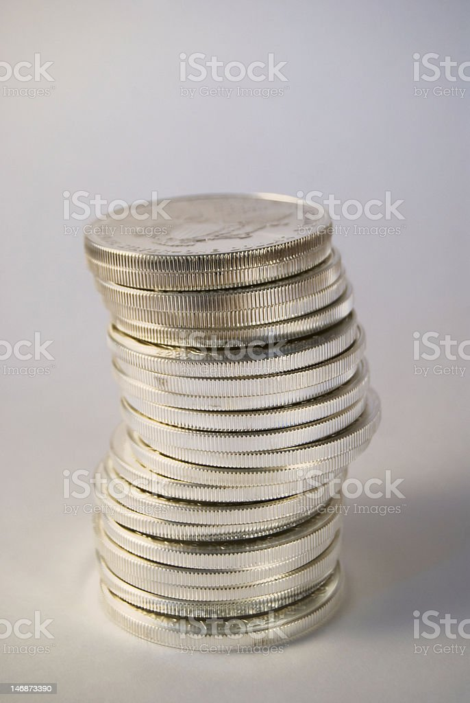 Stack of One Ounce U.S. Silver Eagle Coins stock photo