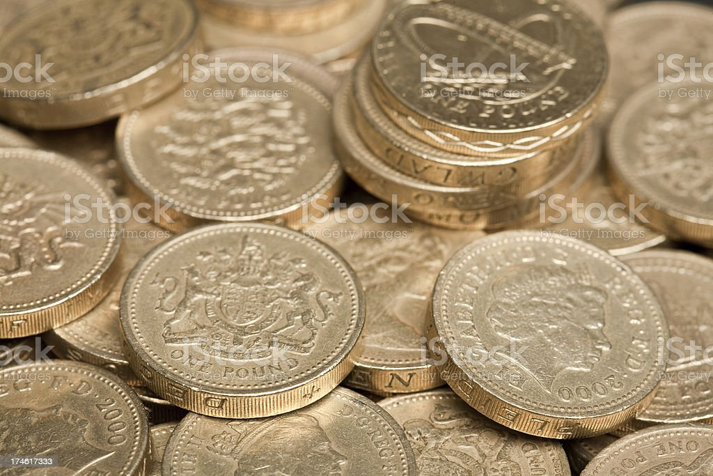 Stack of one pound coins royalty-free stock photo
