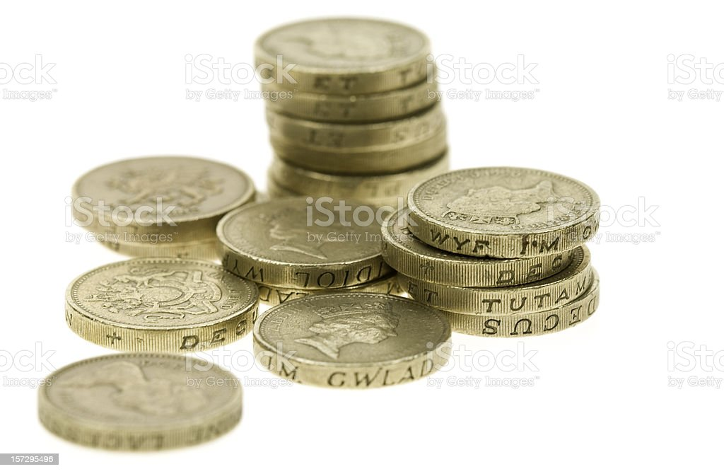 Stack of one pound coins showing Queen Elizabeth stock photo