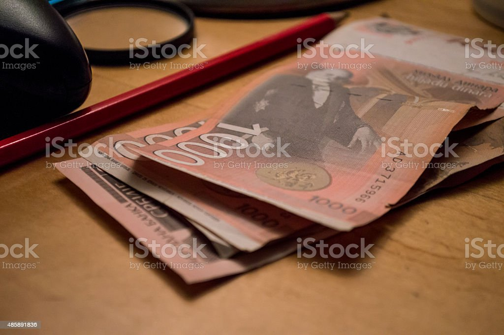 Stack of One Thousand Serbian Dinar (RSD) Notes royalty-free stock photo