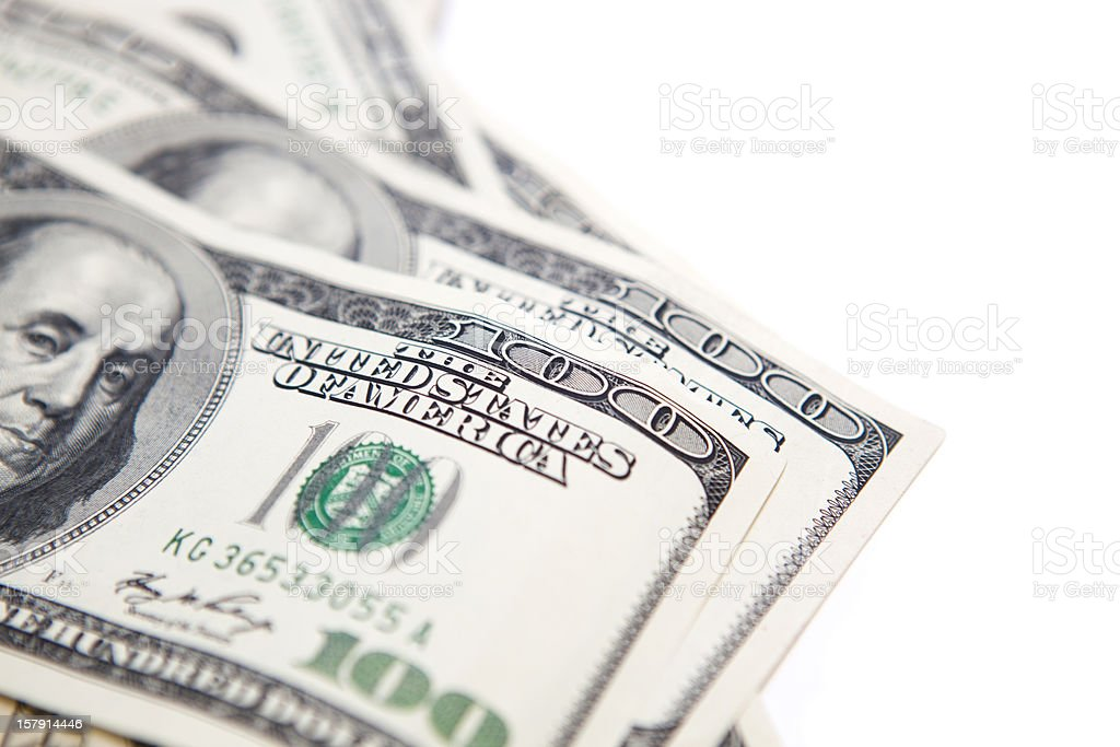 Stack of one-hundred dollar bills stock photo