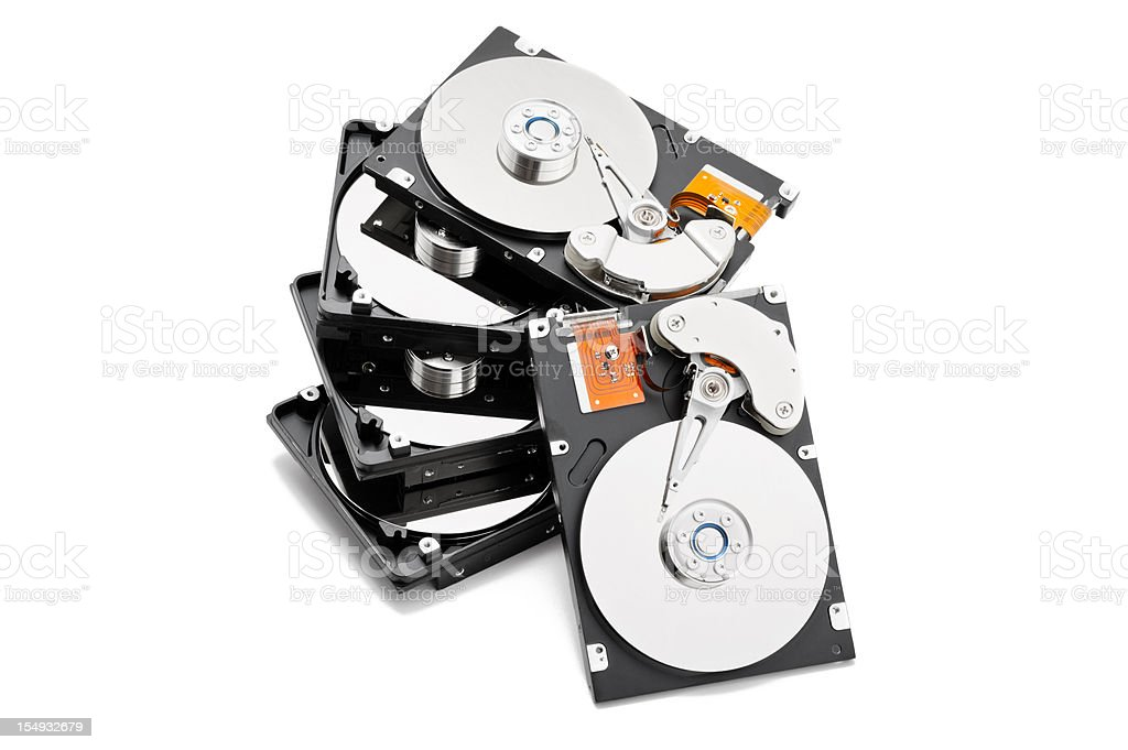 Stack of open computer hard drives royalty-free stock photo