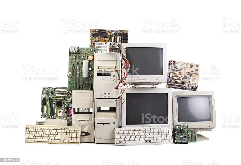 Stack of outdated computers and monitors stock photo