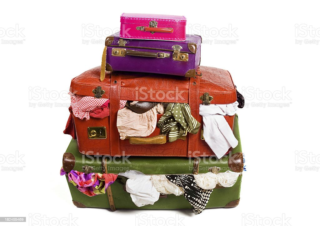 Stack Of Overstuffed Luggage royalty-free stock photo