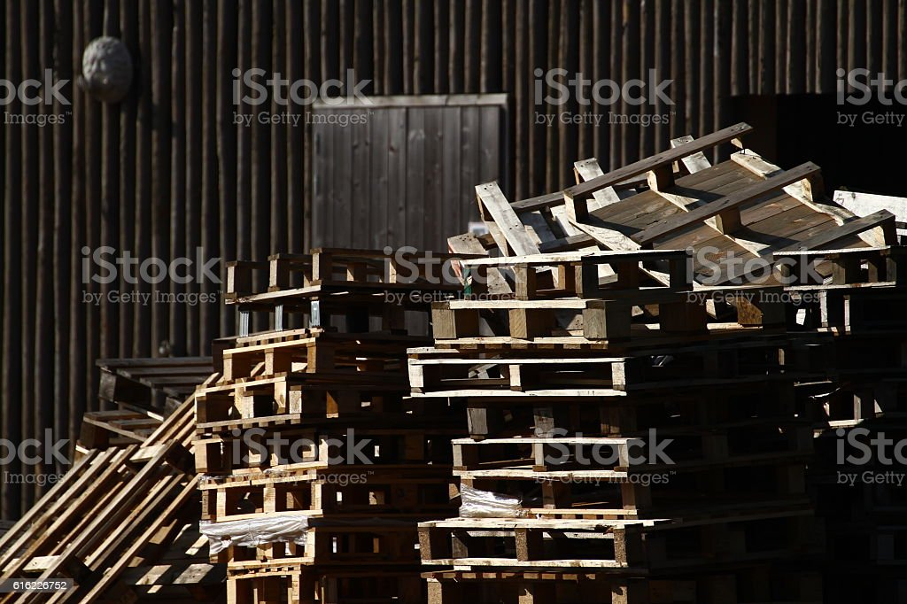 Stack of pallets stock photo