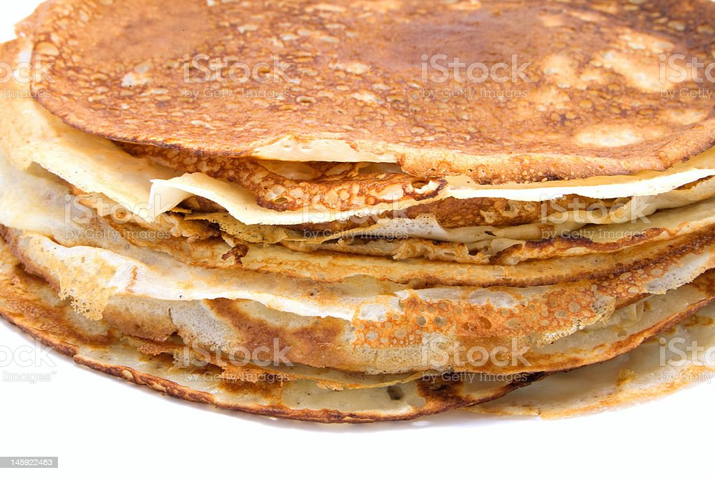 Stack of pancakes, isolated on white. royalty-free stock photo