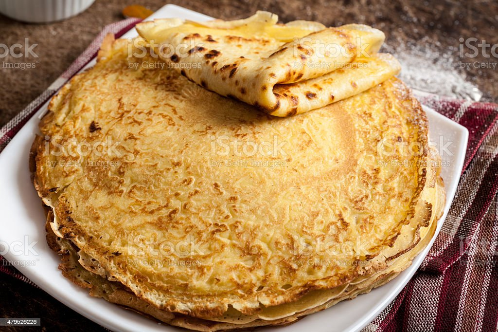 Stack of pancakes on a plate stock photo