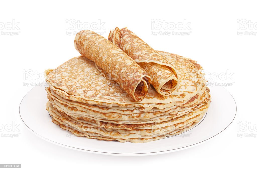 Stack of pancakes on a plate, white background royalty-free stock photo