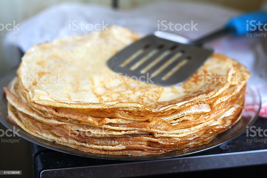 stack of pancakes - Russian traditional dish. stock photo
