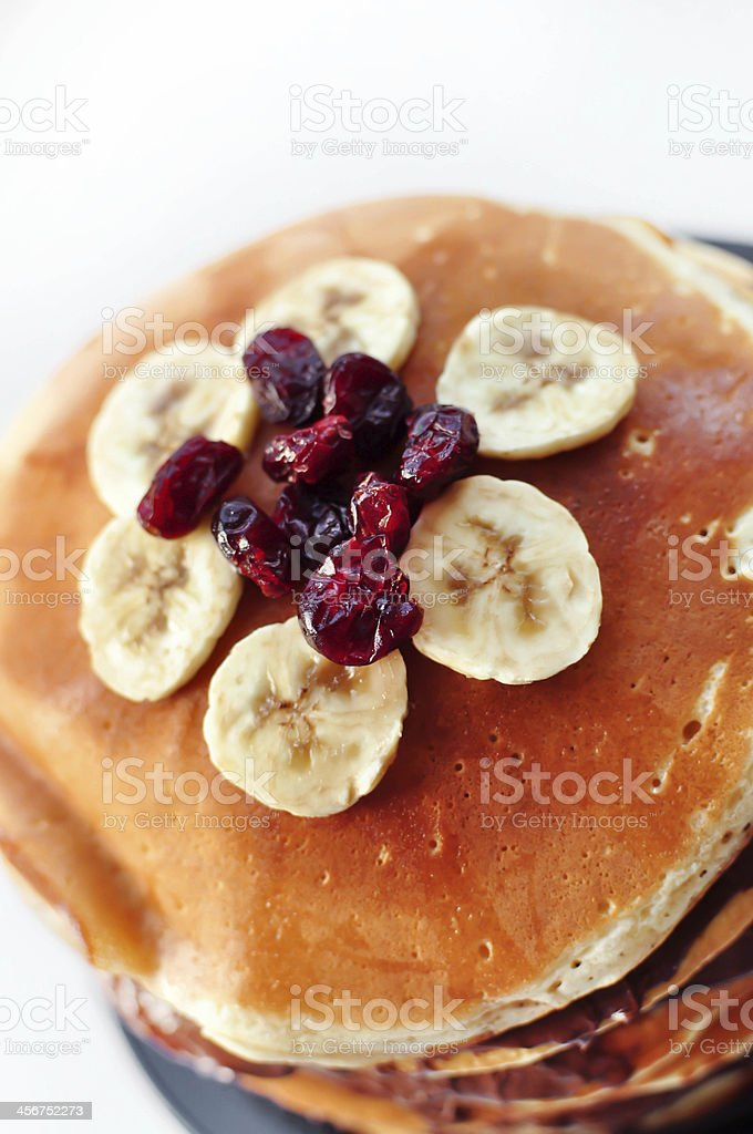 Stack of pancakes with fruits royalty-free stock photo