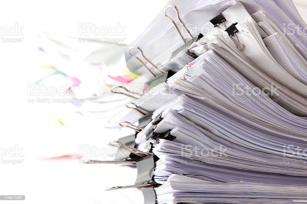 Stack of paper documents. stock photo