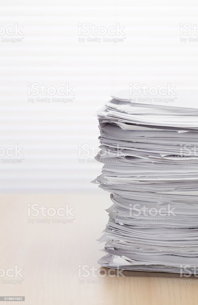 Stack of paper documents stock photo