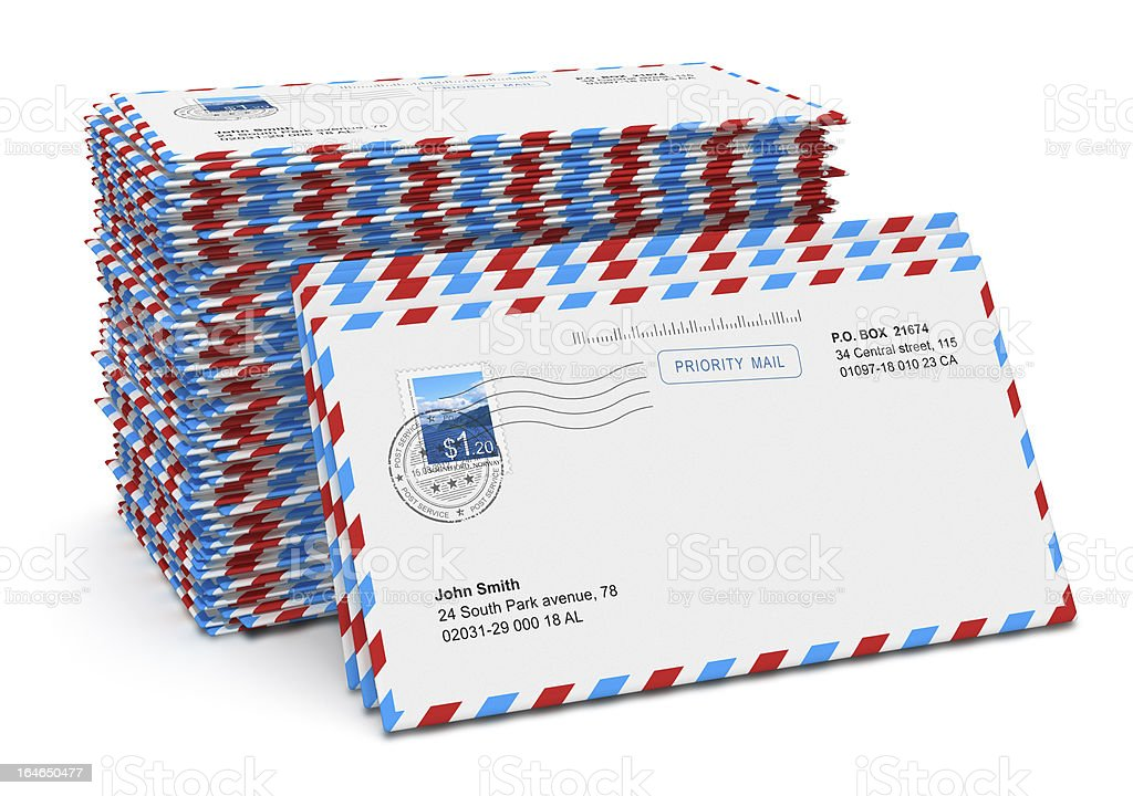 Stack of paper mail letters stock photo