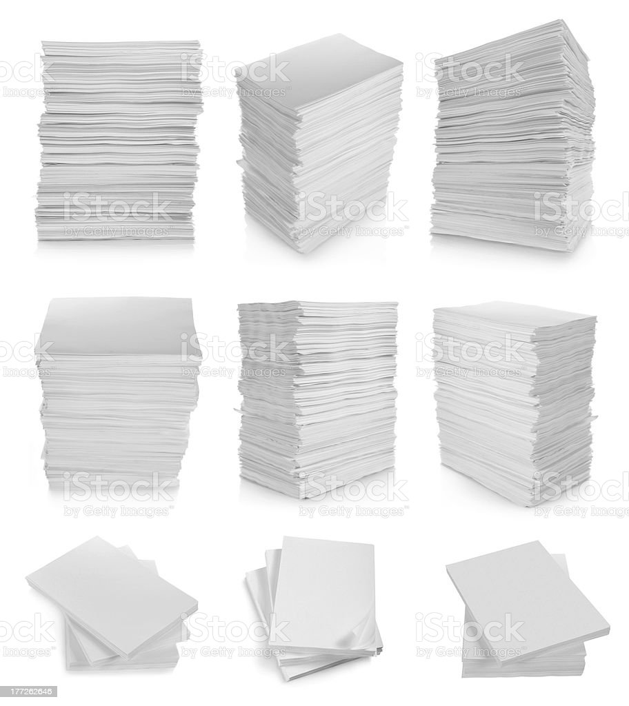 stack of paper on white background stock photo
