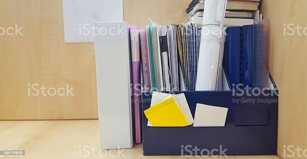 Stack of paper orderly in the folder on office table stock photo