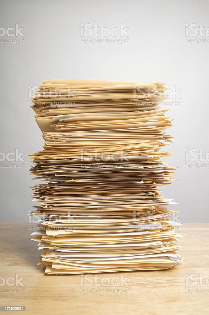 Stack of Paperwork Files on Desk Inbox stock photo
