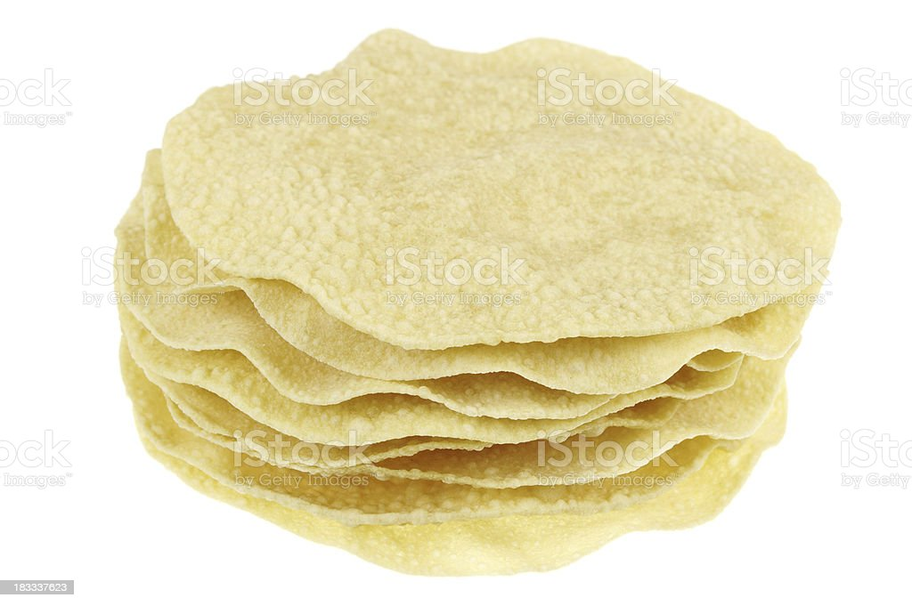 Stack Of Pappadoms Isolated On White stock photo