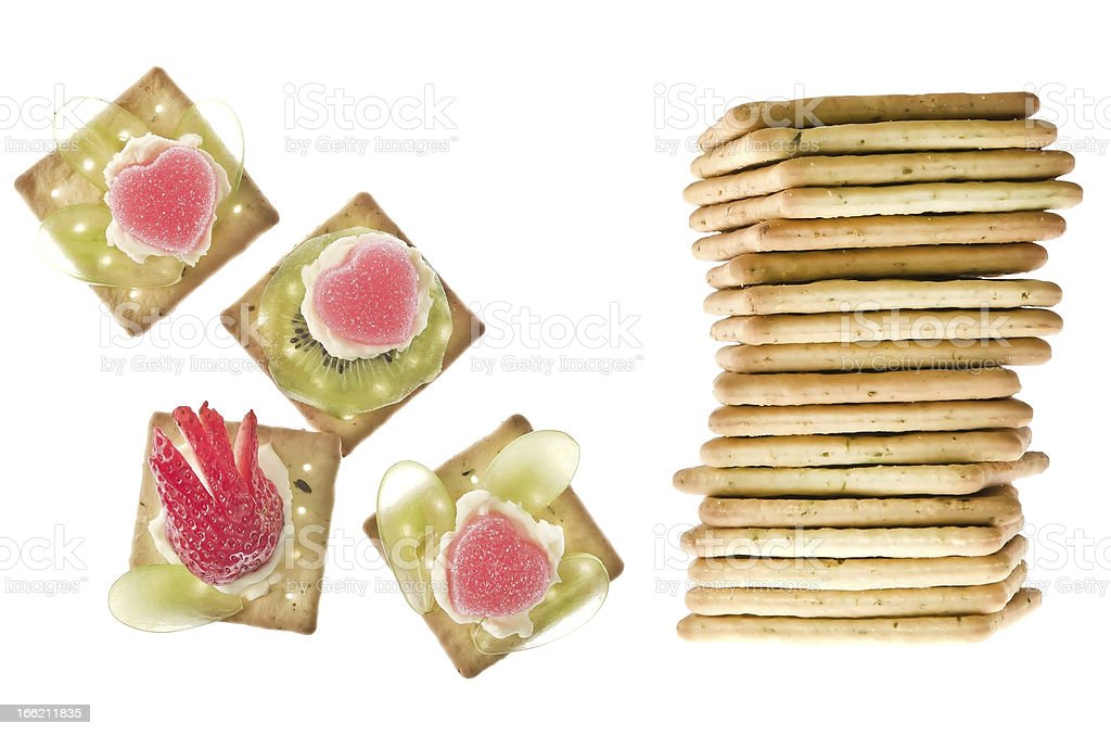 Stack of peanut butter craker with canapes royalty-free stock photo