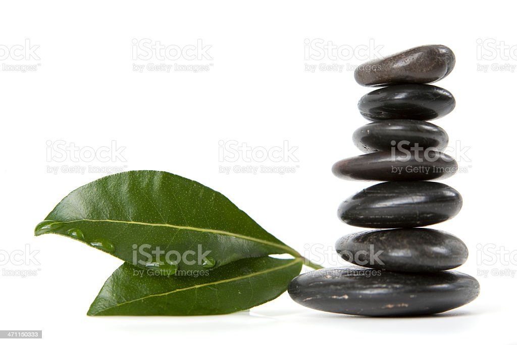 Stack of Pebbles and Leaves royalty-free stock photo