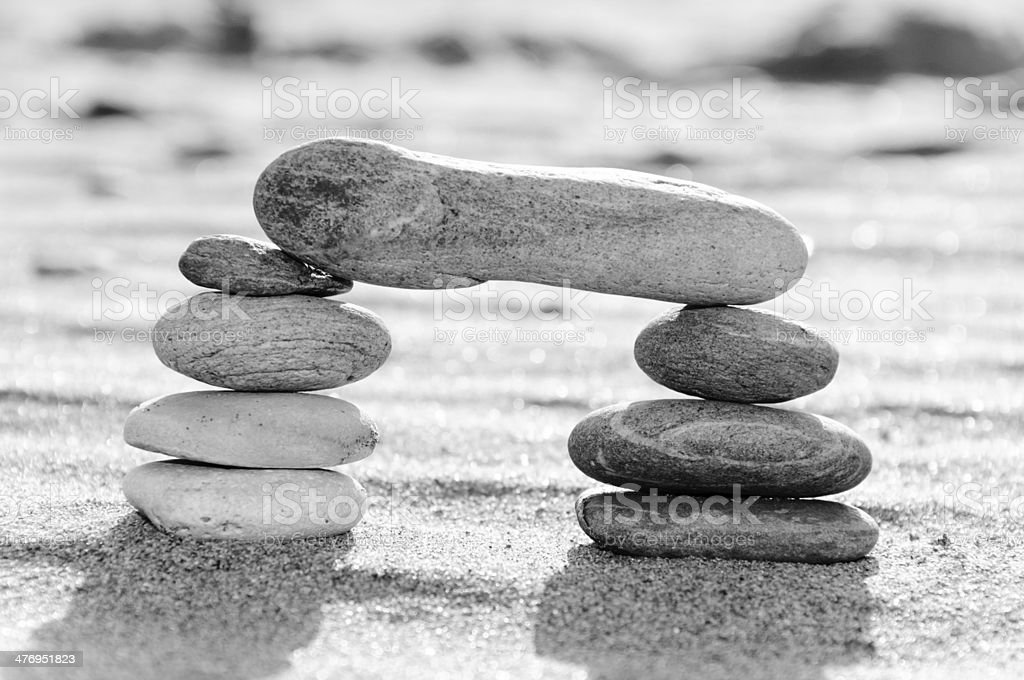 Stack of pebbles in black and white, zen concept royalty-free stock photo