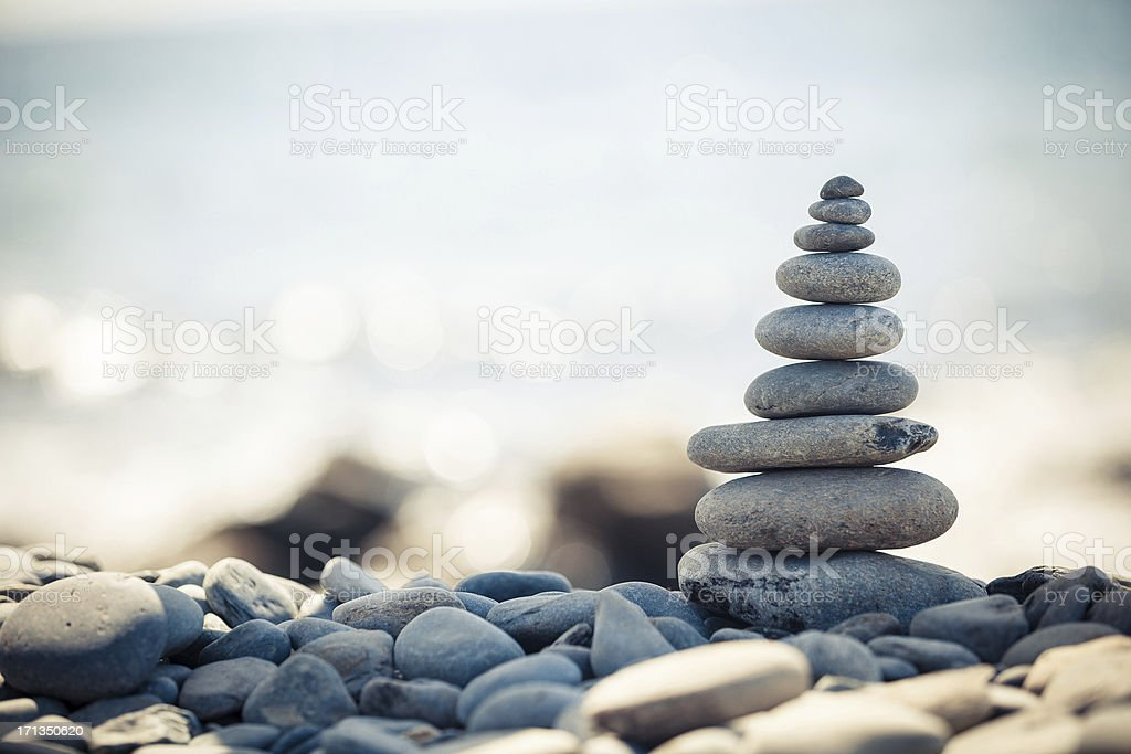 Stack of pebbles stock photo