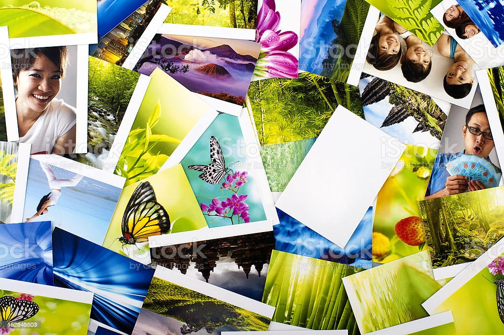 Stack of photos stock photo
