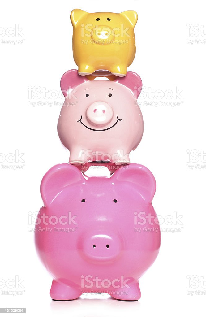 Stack of piggy banks royalty-free stock photo