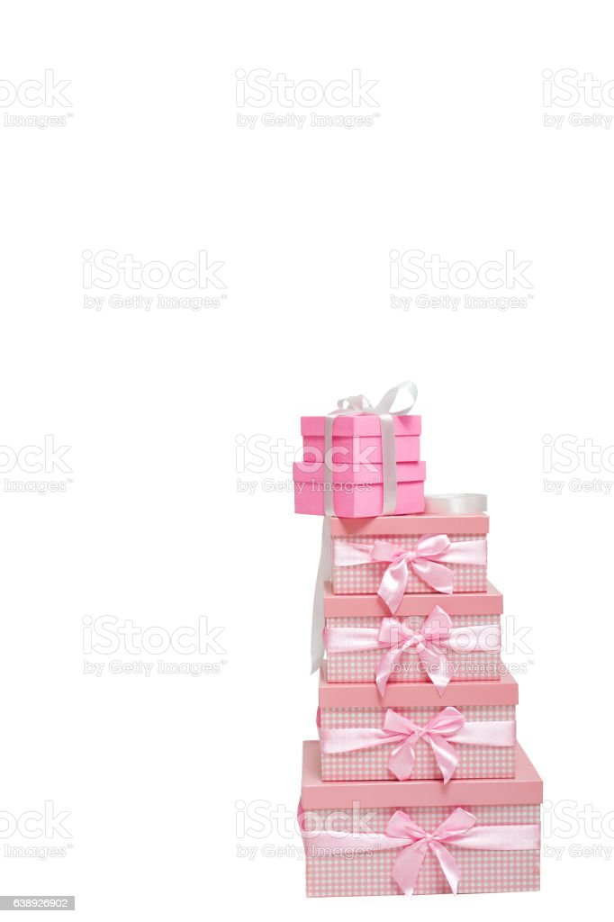 stack of pink gift boxes with ribbons stock photo