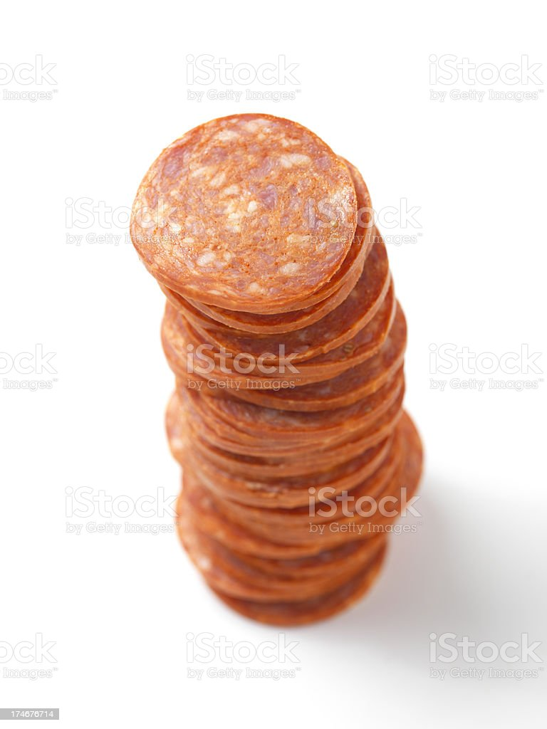 Stack of Pizza Pepperoni stock photo