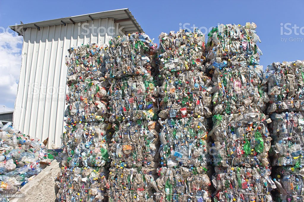 Stack of plastic bottles ready for recycling stock photo