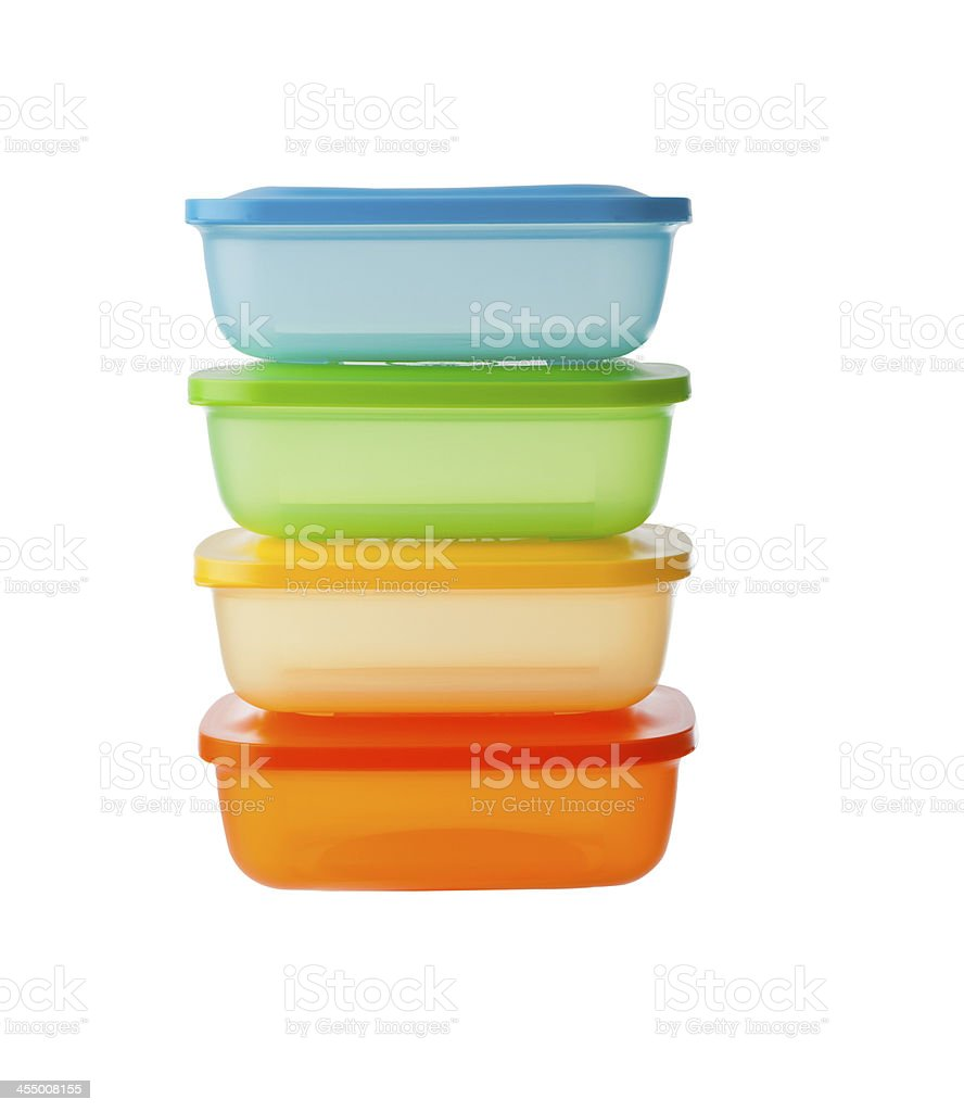 stack of plastic box package isolated on white background stock photo