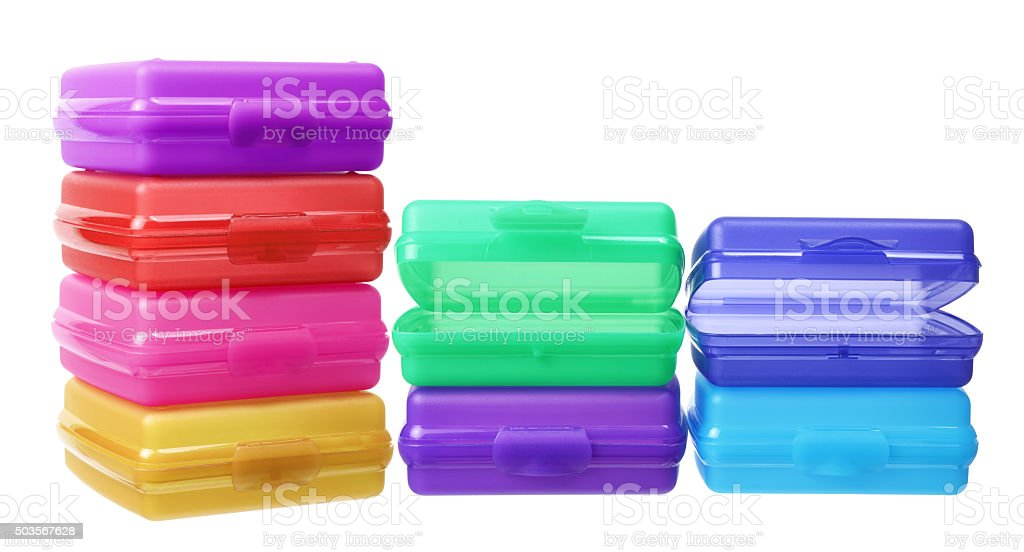 Stack of Plastic Containers stock photo