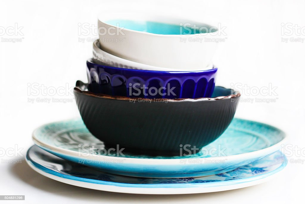 Stack of Plates and Bowls stock photo