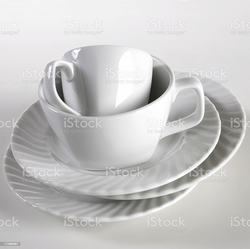 Stack of plates and cups royalty-free stock photo