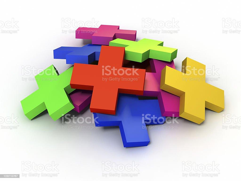 Stack of Plus Symbols stock photo