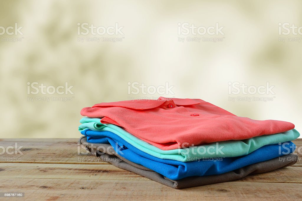 Stack of polo shirt. stock photo