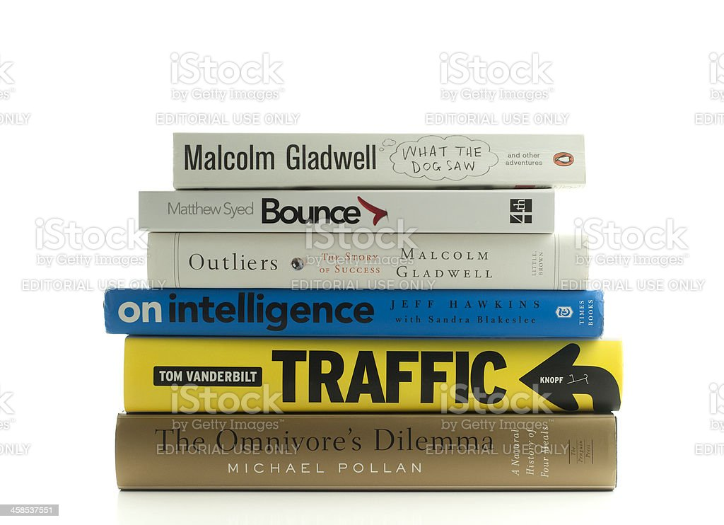Stack of popular non fiction books stock photo