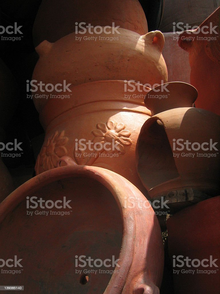 Stack of pots royalty-free stock photo