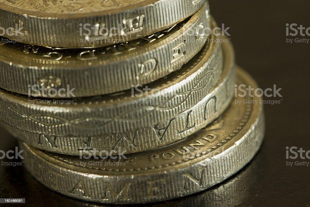 Stack of pound coins macro royalty-free stock photo