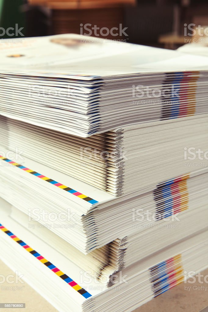 Stack of printed folders in the printing plant stock photo