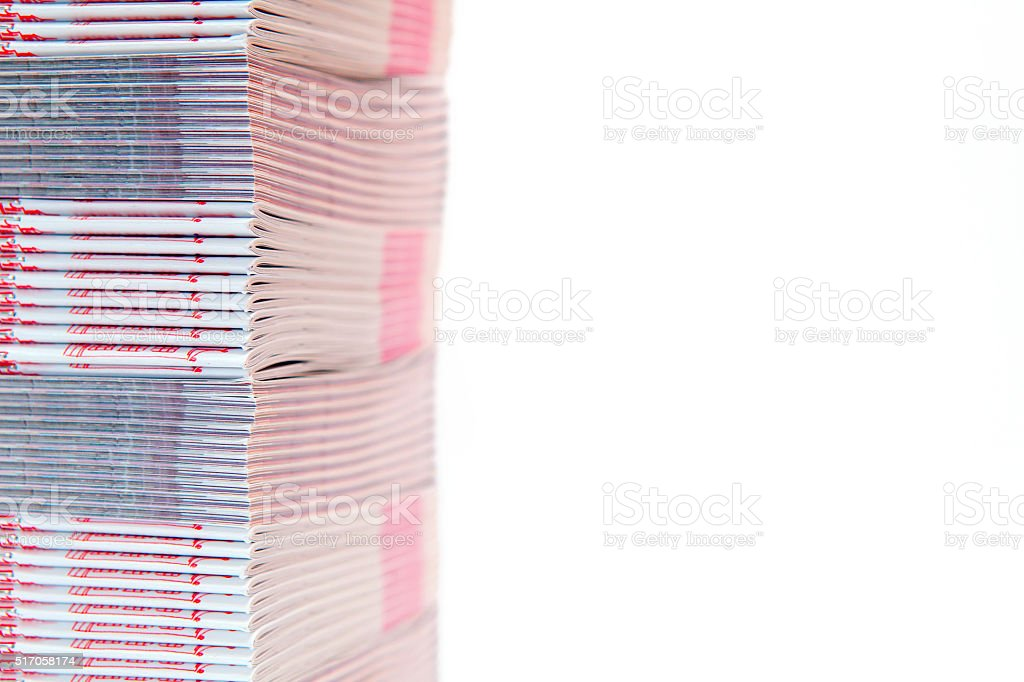 stack of printed materials - shallow DOF stock photo