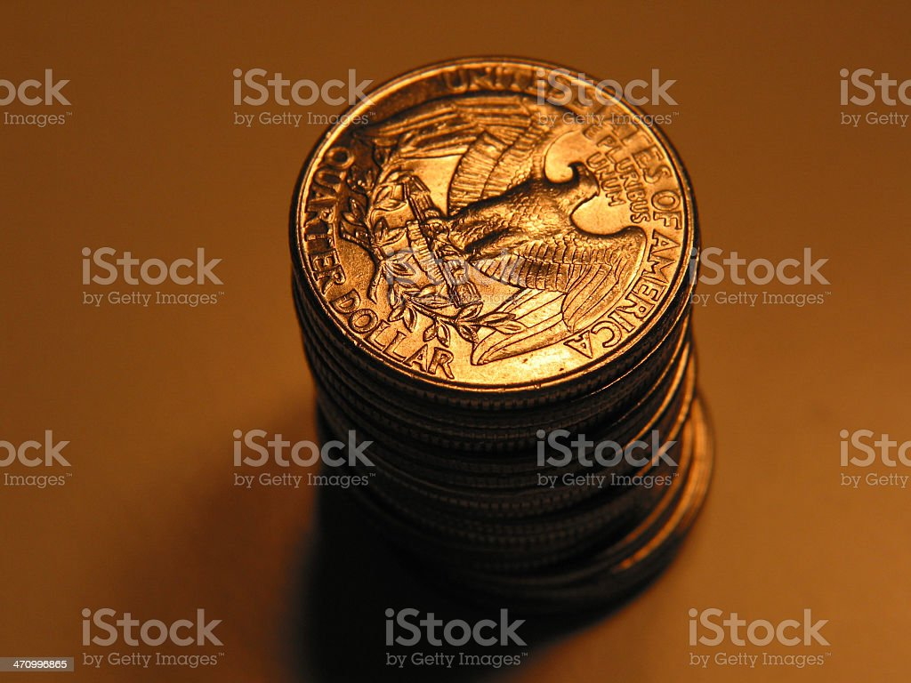 Stack of Quarters stock photo