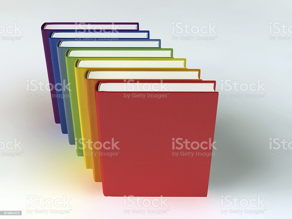 Stack of rainbow books on white royalty-free stock photo