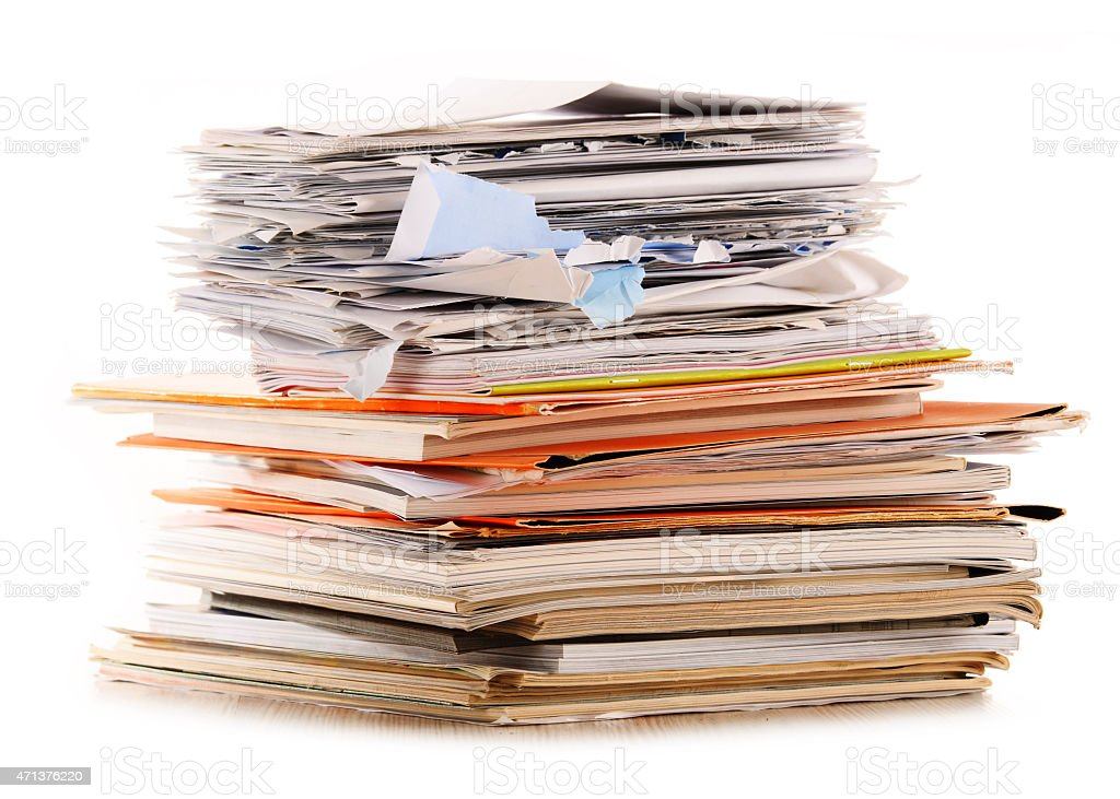 Stack of recycling paper isolated on white stock photo