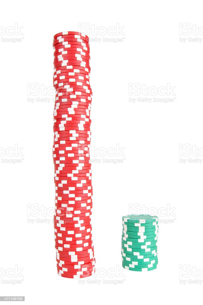A stack of red and green poker chips royalty-free stock photo