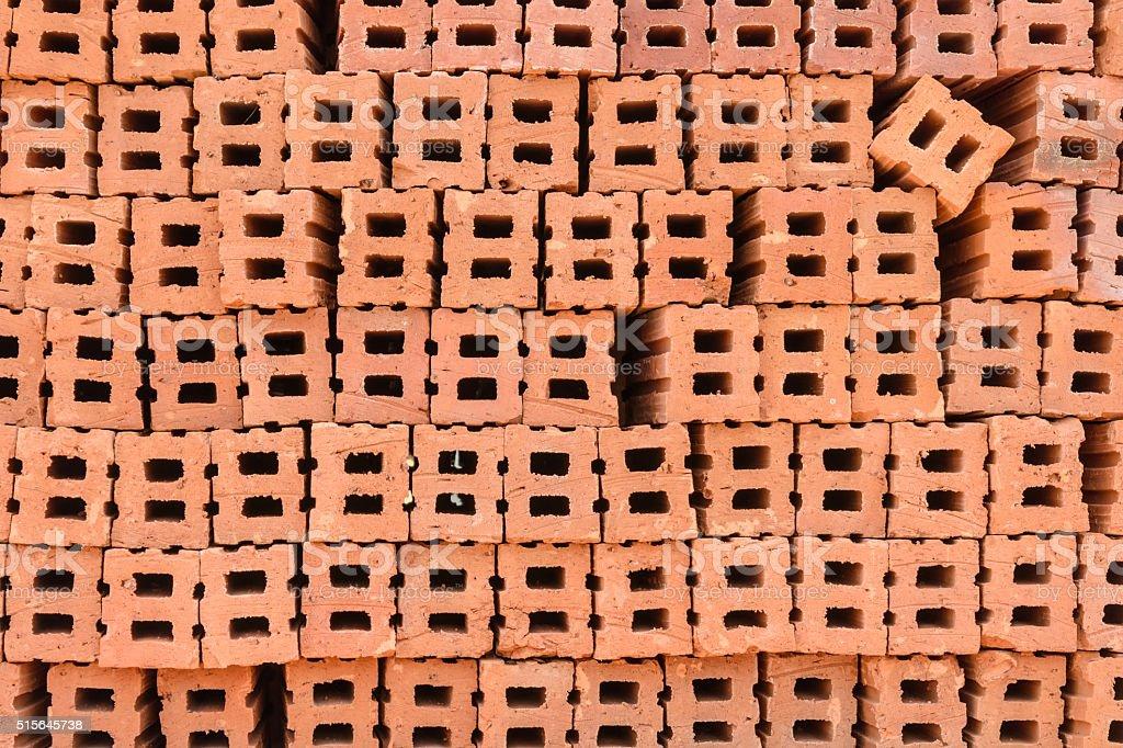 Stack of red bricks stock photo